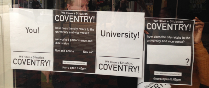 Posters in the Shop Front Theatre window. Photo: John Hammersley.